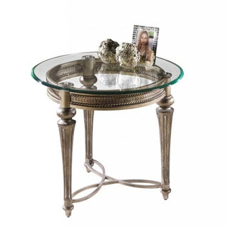 Galloway Pewter Round End Table with Glass Top