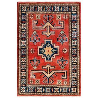 Afghan Hand-knotted Kazak Red/ Navy Wool Rug (2'9 x 4'1)