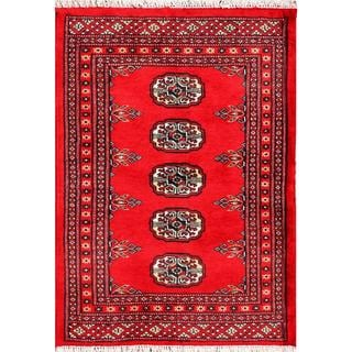 "Pakistani Hand-Knotted Bokhara Traditional Red/Ivory Wool Accent Rug (2'1"" x 2'10"")"