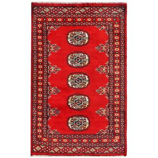 "Herat Oriental Pakistani Hand-knotted Bokhara Red/ Ivory Geometric Wool Rug (1'11"" x 3'1"")"