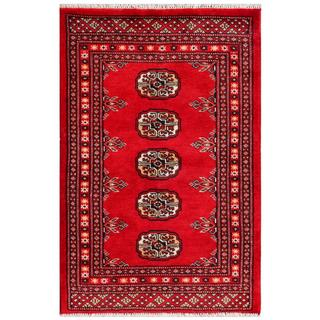 Herat Oriental Pakistani Hand-knotted Bokhara Red/ Ivory Wool Rug (2'2 x 3'1)