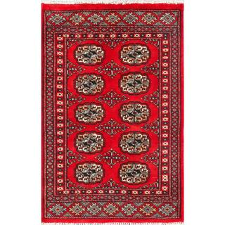 "Gorgeous Pakistani Hand-Knotted Bokhara Red/Ivory Wool Rug (2' x 3'1"")"