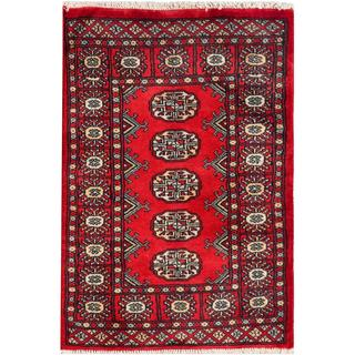 "Pakistani Hand-Knotted Bokhara Traditional Red/Ivory Rectangle Wool Rug (2' x 2'10"")"