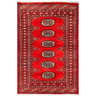 Pakistani Hand-Knotted Half-Inch Bhokara Red/Ivory Wool Accent Rug (2' x 3')