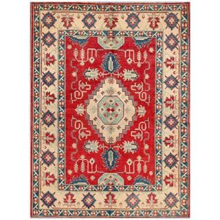 Afghan Hand-knotted Kazak Red/ Ivory Wool Rug (6'2 x 8'3)