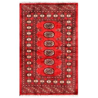"Pakistani Hand-Knotted Bokhara Red/Ivory Wool Geometric Rug (2'8"" x 4')"