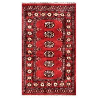 Pakistani Hand-knotted Bokhara Red/ Ivory Wool Rug (2'6 x 4'2)