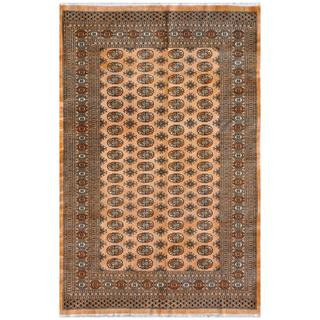 Pakistani Hand-knotted Bokhara Beige/ Grey Wool Rug (5'11 x 9'1)