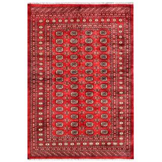 Pakistani Hand-knotted Bokhara Red/ Ivory Wool Rug (6' x 8'10)