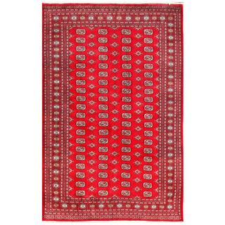 Pakistani Hand-knotted Bokhara Red/ Ivory Wool Rug (6'2 x 9'1)