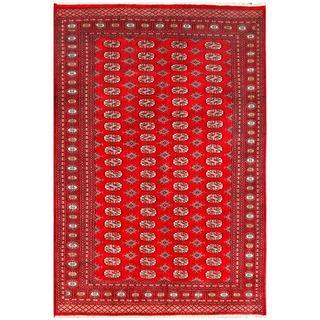 Herat Oriental Pakistani Hand-knotted Bokhara Red/ Ivory Wool Rug (5'11 x 9')