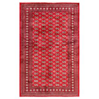 Pakistani Hand-knotted Bokhara Red/ Ivory Wool Rug (6'2 x 9'5)