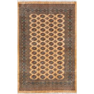 Pakistani Hand-knotted Bokhara Beige/ Blue Wool Rug (5' x 7'9)