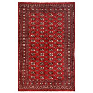 Pakistani Hand-knotted Bokhara Red/ Ivory Wool Rug (5'1 x 8'2)
