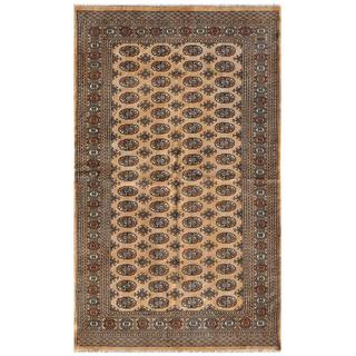 Pakistani Hand-knotted Bokhara Beige/ Blue Wool Rug (5'1 x 8'4)