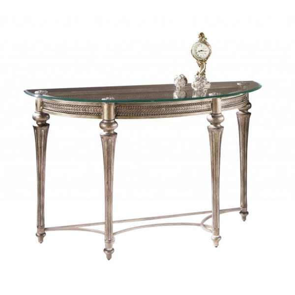 39 galloway 39 traditional wrought iron glass top demilune table 15390491 shopping. Black Bedroom Furniture Sets. Home Design Ideas