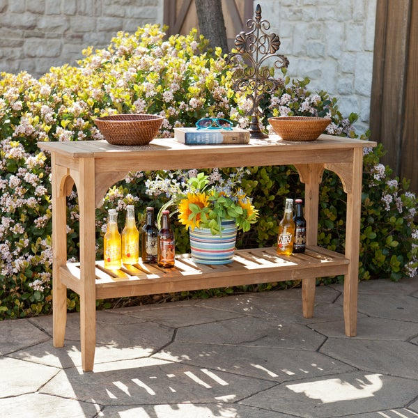 Home Garden Upton Brookford Teak Outdoor Console Table  product
