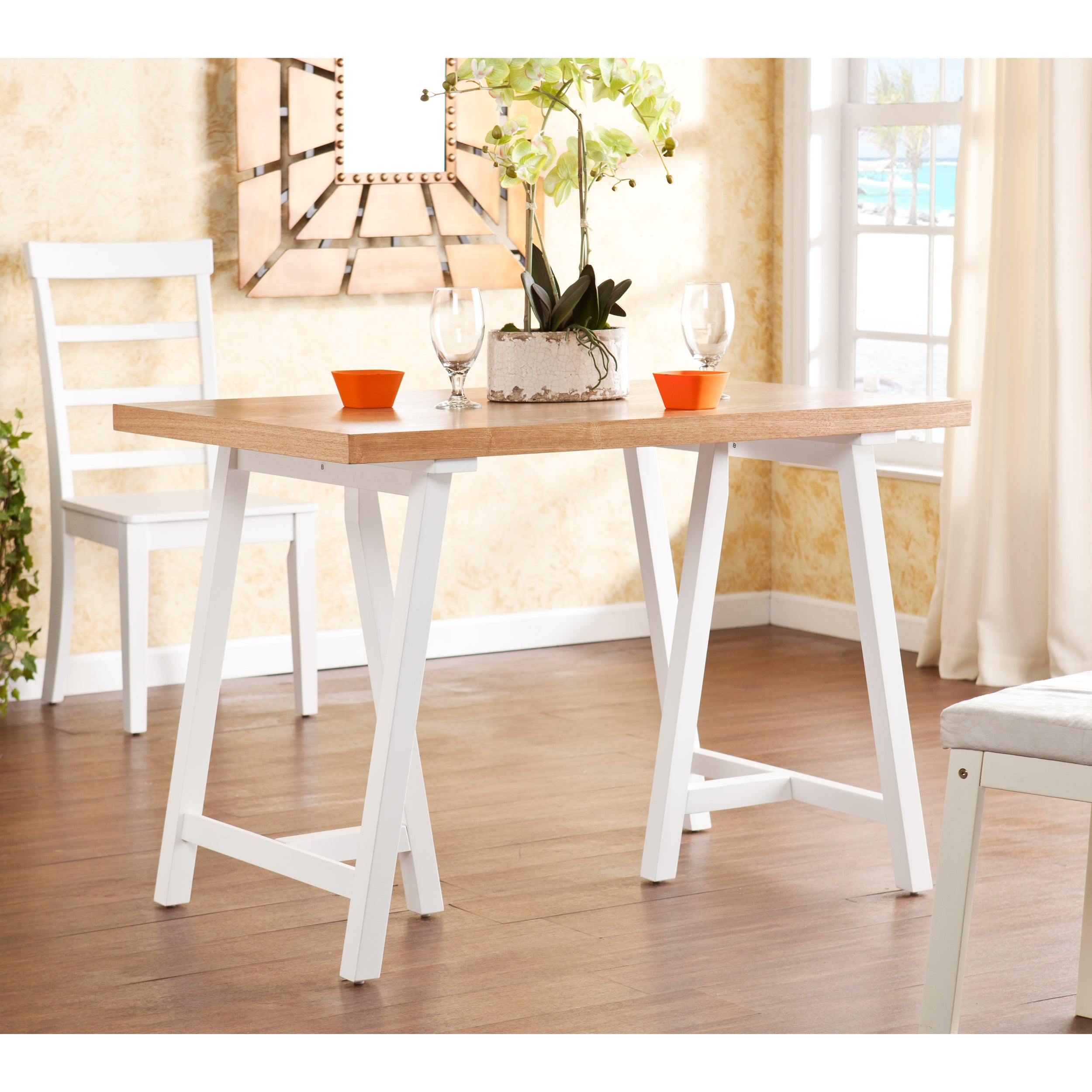 Upton Home Glenwest White and Natural Pine Dining Table at Sears.com