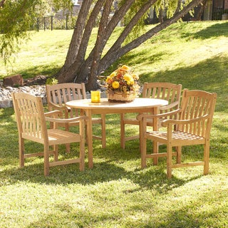 Upton Home Barringer Teak Outdoor Dining Table 5-piece Set
