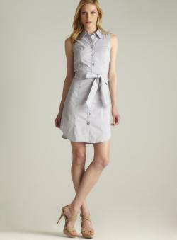 Grace Corded Striped Button Down Shirtdress