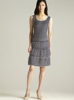 Max Studio Scoop Neck Scallop Edge Striped Dress