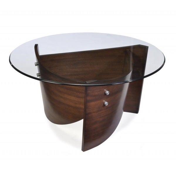 Contour Wood and Glass Top Round Cocktail Table