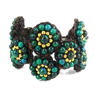 Tribal Circles Malachite Stones Mosaic Adjustable Bracelet (Thailand)