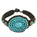 Oval Tribal Medallion Turquoise Stones Toggle Bracelet (Thailand)