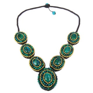Mosaic Tribal Circles Malachite Stones Statement Necklace (Thailand)