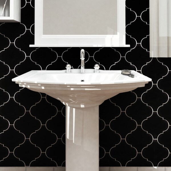 SomerTile 8 x 8 Morocco Provenzale Black Porcelain Floor and Wall Tile (Pack of 16)