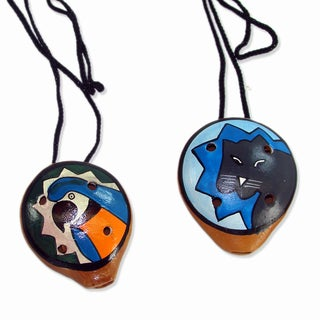 Set of Two Handmade Clay Animal Ocarina Necklaces (Peru)