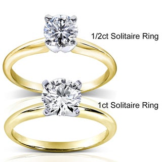 Annello 14k Two-tone Gold 1/5 to 1 ct TDW Diamond Wrap or Round Solitaire Ring (H-I, I1-I2)