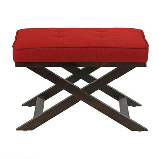 Traditional Cross Legs Red Wine Linen Bench Ottoman