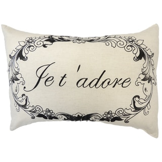 French Print Je t' adore Decorative Throw Pillow