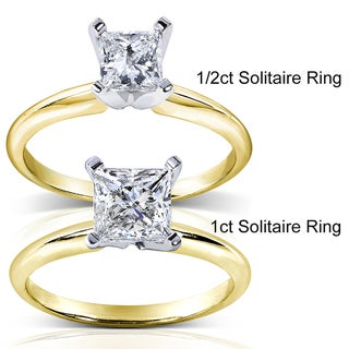 Annello 14k Two-tone Gold 1/5 to 1 ct TDW Diamond Wrap or Princess Solitaire Ring (H-I, I1-I2)