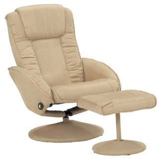 Camel Microfiber Recliner and Ottoman