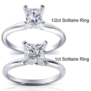 Annello 14k White Gold 1/5 to 1 ct TDW Diamond Wrap or Princess Solitaire Ring (H-I, I1-I2)