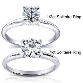 Annello 14k White Gold 1/5 to 1 ct TDW Diamond Wrap or Round Solitaire Ring (H-I, I1-I2)