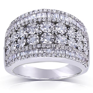 Annello Silver 1 1/4ct TDW Multi Row Diamond Ring (H-I, I1-I2)
