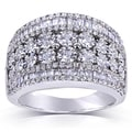 Annello Silver 1 1/4ct TDW Pave Multi Row Diamond Band (H-I, I1-I2)