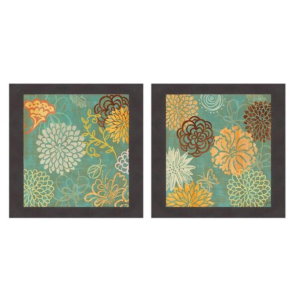 Rebecca Lyon 'Floral Soiree (green) I & II' Framed Print