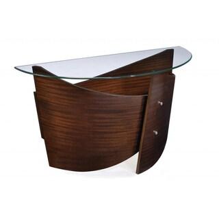 Contour Wood Demilune Sofa Table w/ Glass Top