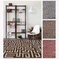 Mandara Handmade Geometric Pattern Flatweave Wool/Cotton Rug (5' x 7')