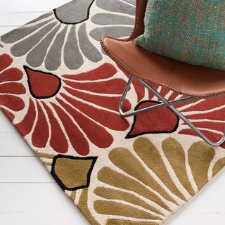 Mandara Hand-Tufted Multicolored Floral Pattern Wool Rug (5' x 7')