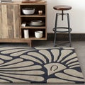 Mandara Hand-tufted Black/Beige Floral Wool Rug (5' x 7')
