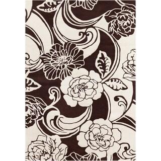 Mandara Hand-tufted Brown/White Floral Wool Rug (5' x 7')