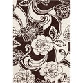 Mandara Hand-tufted Brown/White Floral Wool Rug (7' x 10')