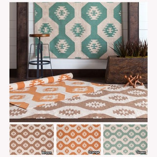 Mandara Handmade Abstract Pattern Wool/Cotton Flat-Weave Rug (5' x 7')