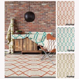 Mandara Handmade Contemporary Geometric Pattern Flatweave Rug (3' x 5')