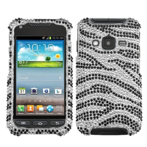 INSTEN Black/ Zebra Diamante Phone Case Cover for Samsung I547 Galaxy Rugby Pro